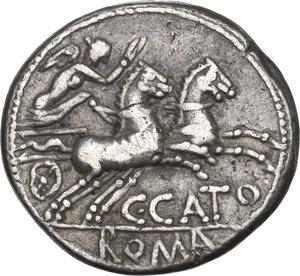 reverse: C. Porcius Cato. Denarius, Rome mint, 123 BC