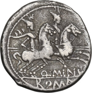 reverse: Q. Minucius Rufus. Denarius, Rome mint, 122 BC