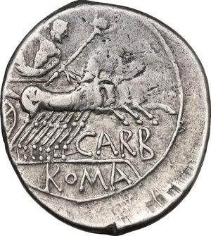 reverse: Cn. Carbo.. AR Denarius, 121 BC