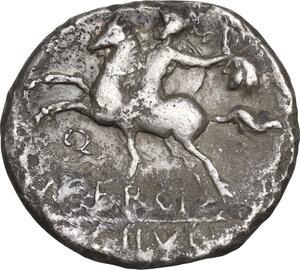 reverse: M. Sergius Silus. Denarius, Rome mint, 116 or 115 BC