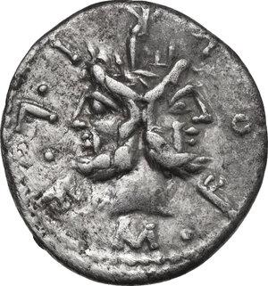 obverse: M. Furius L.f. Philus.. AR Denarius, 119 BC