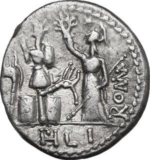 reverse: M. Furius L.f. Philus.. AR Denarius, 119 BC