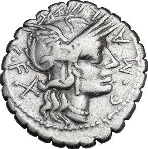 obverse: C. Malleolus C.f.. AR Denarius serratus, 118 BC