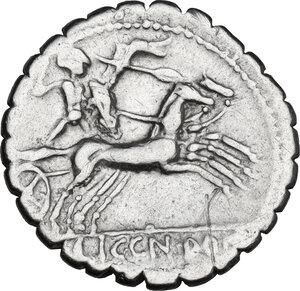 reverse: C. Malleolus C.f.. AR Denarius serratus, 118 BC