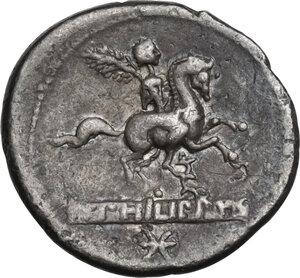 reverse: L. Marcius Philippus. Denarius, 113 or 112 BC
