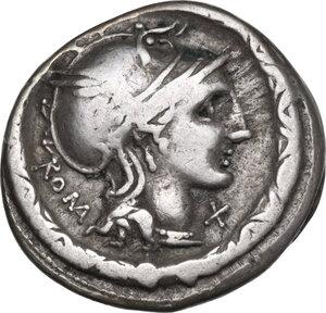 obverse: L. Torquatus. AR Denarius, 113 or 112 BC