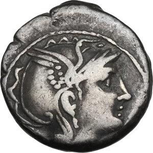 obverse: Appius Claudius Pulcher, T. Manlius Mancinus and Q. Urbinius. Denarius, Rome mint, 111 or 110 BC