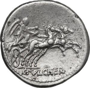 reverse: C. Claudius Pulcher.. AR Denarius, 110 or 109 BC