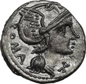 obverse: L. Flaminius Chilo. AR Denarius. 109 or 108 BC