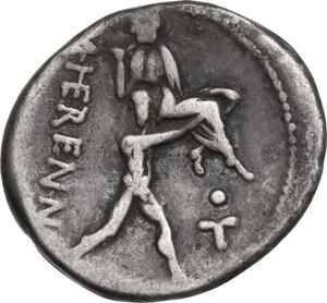 reverse: M. Herennius. Denarius, Rome mint, 108 or 107 BC