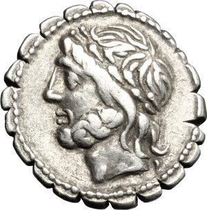 obverse: L. Cornelius Scipio Asiagenus.. AR Denarius serratus, 106 BC