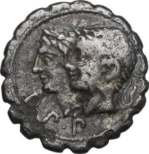 obverse: C. Sulpicius Galba. Denarius serratus, Rome mint, 106 BC