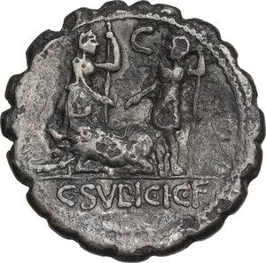 reverse: C. Sulpicius Galba. Denarius serratus, Rome mint, 106 BC