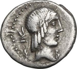 obverse: L. Calpurnius Piso Frugi. Denarius, Rome mint, 90 BC