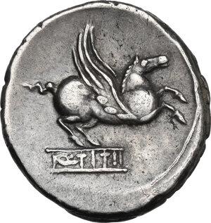 reverse: Q. Titius. AR Denarius, 90 BC