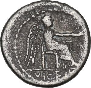 reverse: M. Cato. AR Quinarius, 89 BC