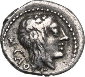 obverse: M. Cato. AR Quinarius, 89 BC