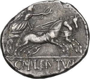 reverse: Cn. Cornelius Lentulus Clodianus. Denarius, Rome mint, 88 BC