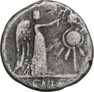 reverse: Cn. Cornelius Lentulus Clodianus. Quinarius, Rome mint, 88 AD