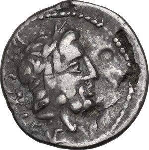 obverse: L. Rubrius Dossenus. Quinarius, Rome mint, 87 BC. Fourrée