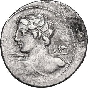 obverse: C. Licinius L. f. Macer. AR Denarius, 84 BC