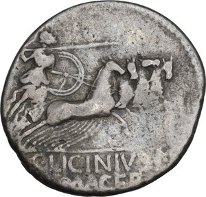 reverse: C. Licinius Macer. Denarius, Rome mint, 84 BC