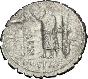 reverse: A. Postumius A.f. Sp. n. Albinus.. AR Denarius serratus, 81 BC