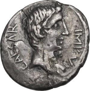 obverse: Augustus (27 BC - 14 AD).. AR Quinarius, 29-26 BC, uncertain mint