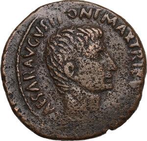 obverse: Augustus (27 BC - 14 AD).. AE As, 7 BC