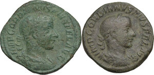 obverse: Gordian III (238-244).. Lot of two (2) AE Sestertii