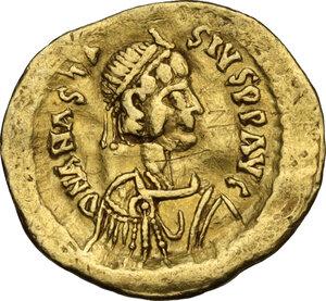 obverse: Anastasius I (491-518).. AV Tremissis, Constantinople mint, 492-507