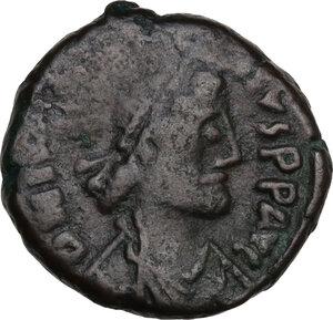 obverse: Justin I (518-527).. AE 12 Nummis, Alexandria mint, 522-527