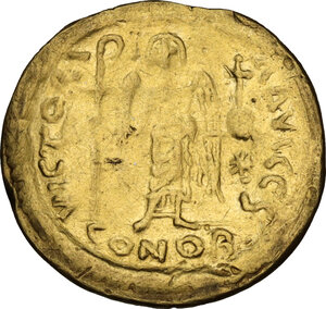 reverse: Justinian I (527-565).. AV Solidus, Constantinople mint, 542-552