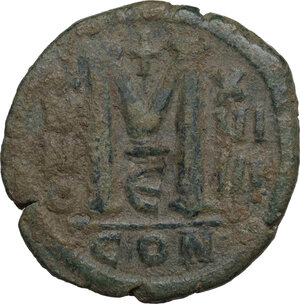 reverse: Justinian I (527-565).. AE Follis, Constantinople mint, dated RY 19 (545/546)