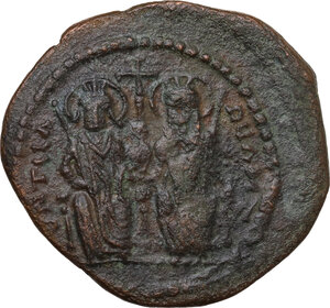 obverse: Justin II and Sophia (565-578).. AE Follis, Theupolis (Antioch) mint, dated RY 7 (571-572)