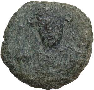 obverse: Tiberius II Constantine (578-582).. AE Decanummium. Ravenna mint