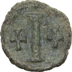 reverse: Tiberius II Constantine (578-582).. AE Decanummium. Ravenna mint