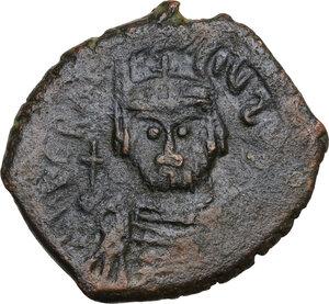 obverse: Heraclius (610-641).. AE Follis, Nicomedia mint, dated RY 1 (610)