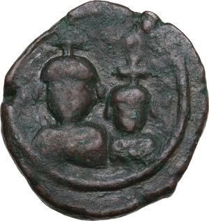 obverse: Heraclius, with Heraclius Constantine (610-641).. AE 12 Nummis, Alexandria mint, 613-618