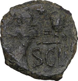 reverse: Heraclius, with Heraclius Constantine (610-641).. AE Follis countermarked on Follis of Heraclius and Heraclius Constantine of Constantinople. Syracuse mint