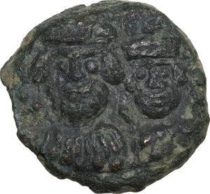 obverse: Heraclius, with Heraclius Constantine (610-641).. AE Decanummium Catania mint. Dated RY 14 (623/4)