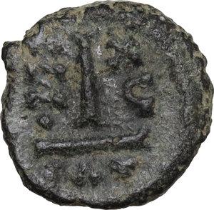 reverse: Heraclius, with Heraclius Constantine (610-641).. AE Decanummium. Catania mint. Dated RY 16 (625/6)