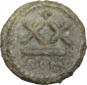 reverse: Heraclius, with Heraclius Constantine (610-641).. AE Half Follis. Rome mint