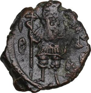 obverse: Constans II, with Constantine IV, Heraclius, and Tiberius (641-668). . AE Follis, Constantinople mint
