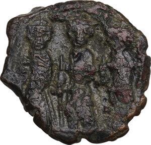reverse: Constans II, with Constantine IV, Heraclius, and Tiberius (641-668). . AE Follis, Constantinople mint