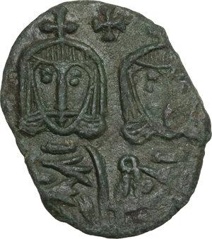 obverse: Constantine V Copronymus with Leo IV (751-775).. AE Follis, Syracuse mint
