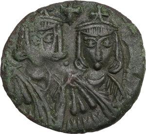 obverse: Leo V the Armenian, with Constantine (813-820). AE Follis, Syracuse mint