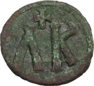 reverse: Leo V the Armenian, with Constantine (813-820). AE Follis, Syracuse mint