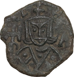 obverse: Leo V the Armenian, with Constantine (813-820). AE Follis. Syracuse mint. Struck 815-817