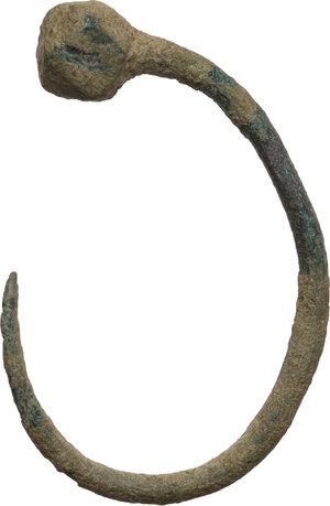 obverse: Bronze fishing hook.  Roman period, 1st-3rd century AD.  30 x 20 mm